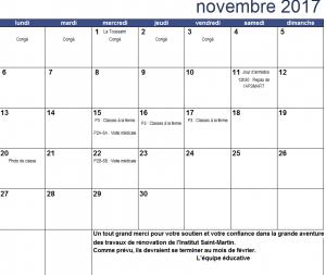 Calendrier du mois de novembre 2017