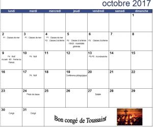 Calendrier du mois d'octobre 2017