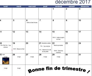 Calendrier du mois de décembre 2017