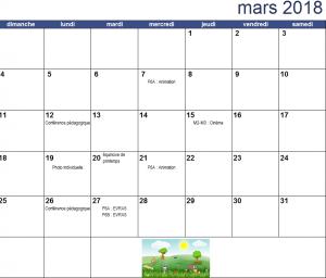 Calendrier du mois de mars 2018