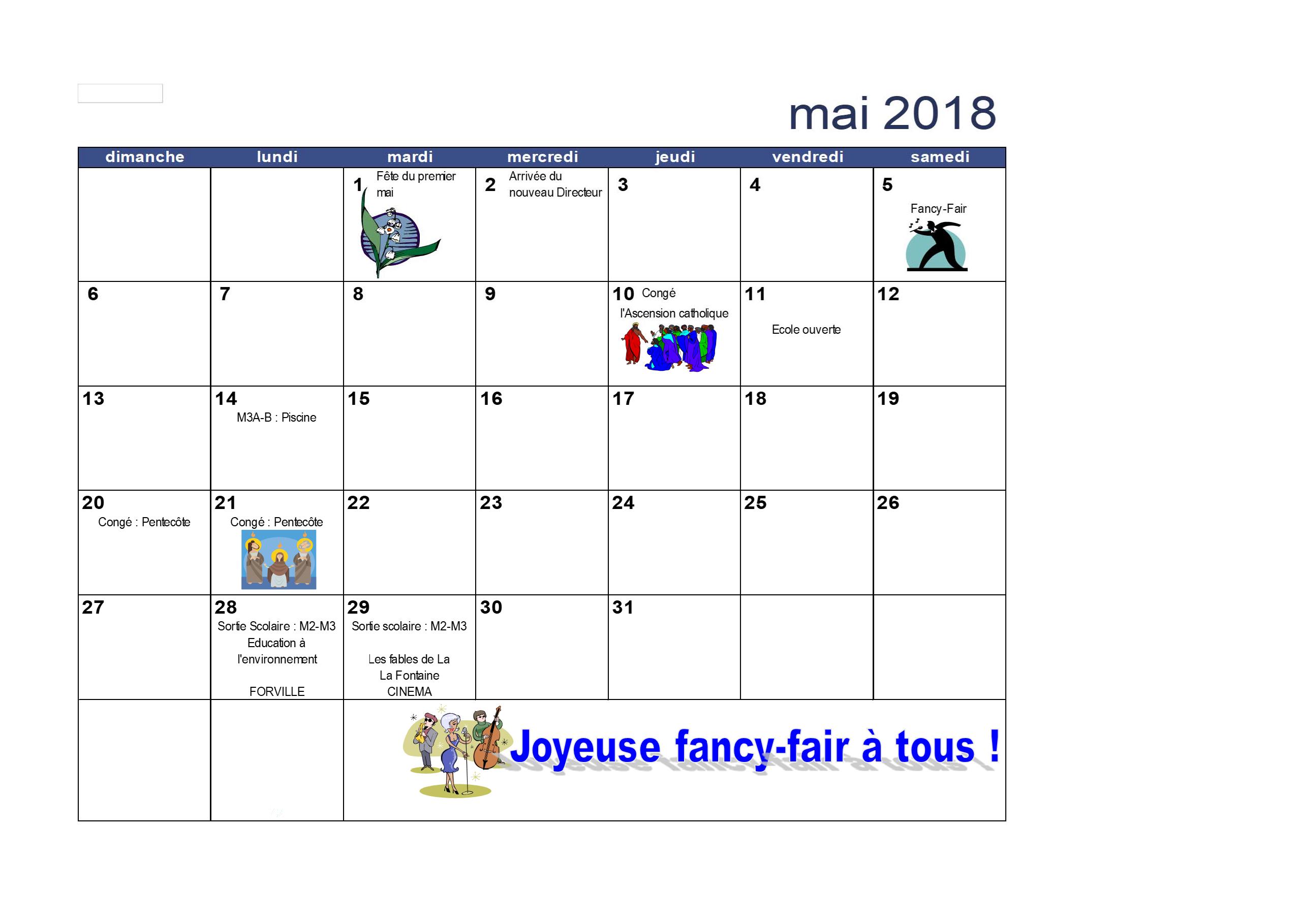 Calendrier Du Mois De Mai 2018 Apsmart