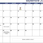 Calendrier du mois de Septembre 2016