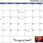 Calendrier du mois d'Octobre 2016