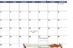 Calendrier du mois de Janvier 2017