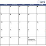 Calendrier du mois de Mars 2017