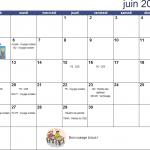 Calendrier du mois de Juin 2017