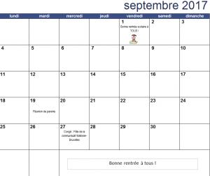 Calendrier du mois de septembre 2017