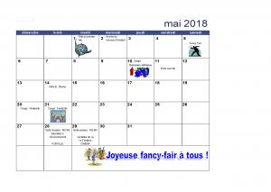Calendrier du mois de mai 2018